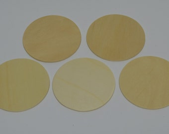 "3"" Wood Discs - Set of 5  Wood Circles - Unfinished Wood - 1/8"" Thick - Wood Rounds - 3"" Wood Disc"