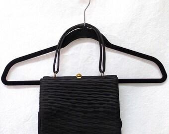 1940s / 50s Vintage Silk Taffeta Handbag / Black Wave Pattern Evening Bag