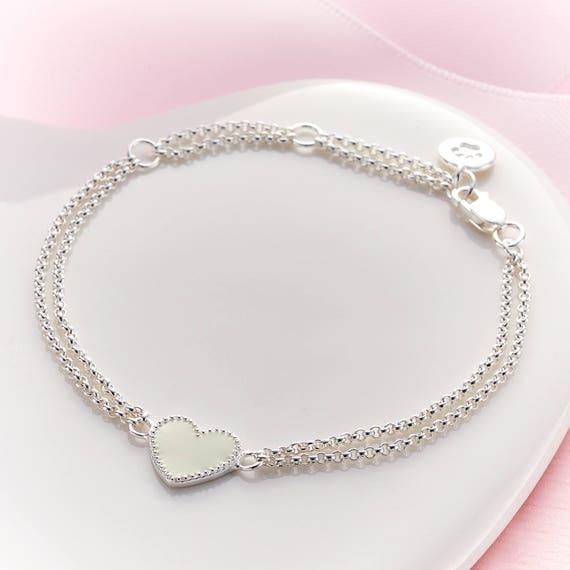 Flower Girl's 'Elodie' White Heart Bracelet DXSRO2P