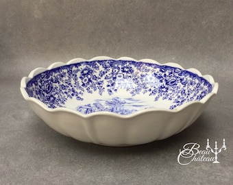Luneville Extra Large French Serving Bowl Vintage Dinner Service Blue White France