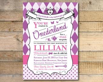 Alice in wonderland invitation 1st birthday party alice in wonderland invitation 1st birthday party purple pink filmwisefo