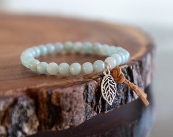 Amazonite with feather charm and leather tassel