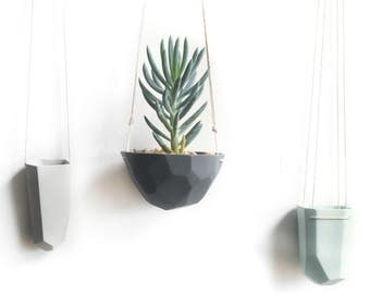 slip-cast geo hanging porcelain planter
