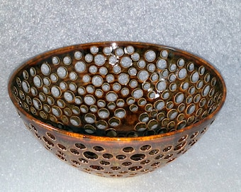 Reserved for Thea - Wheel Thrown Pottery Fruit Bowl Glazed in Amber with Golden Highlights