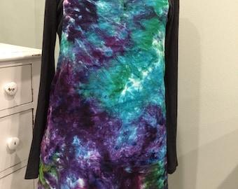 Dyed Linen Apron - handmade linen apron - aqua and purple