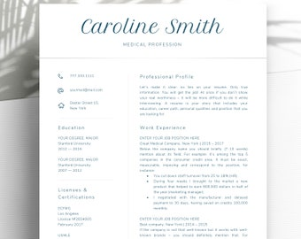 Nurse Resume Template for Word / Doctor Resume Template