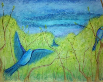 Three Birds in Spring.  Original Art, Mixed Media, Collage, 18 x 24