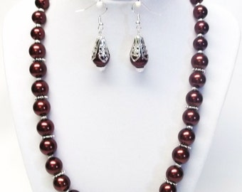 Brown Glass Pearl Necklace/Bracelet & Earrings Set