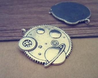 5pcs Antique silver gear necklace pendant charm 36mm