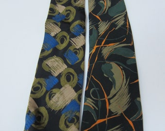 Two Vintage Fratelli Modern Patterns 100% Silk Neckties Made in Italy