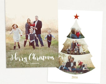 Christmas Card Template - for Photographers and Personal Use - 5x7 Holidays Photo card Template - Christmas Tree -034 Photoshop Template