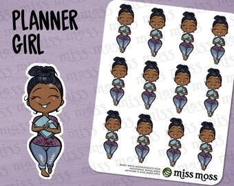 Planner Girl Stickers, Brown Skin, Plus Size, Curvy, African American Black - Erin Condren, Happy Planner, Filofax, Decorative