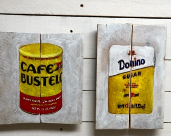 Coffee Art Cafe Bustelo and Domino Sugar Food Art Coffee Art on Reclaimed  Wood Gift for Dominican Kitchen Wall Art Yellow Kitchen Art