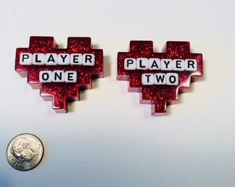 Player One hearts glitter resin magnet set