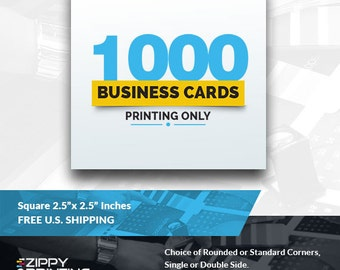 """1000 Square Business Cards 2.5"""",Business Cards Printing Rounded Corners, Matte or Glossy"""