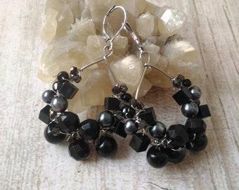 Black hoop earrings, Black dangle earrings, Black chandelier earrings, Black boho earrings, Boho earrings