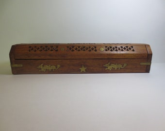 Vintage Wood with Brass Dragons Incense Burning Box