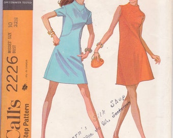 Vintage 1969, Mod Retro Dress Pattern, Size 10, A Line Dress, Shaped Seaming in Front, Stitch Trimming, Sleeve Variations, McCalls 2226,
