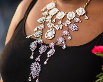 White and Rhinestone floral Statement Necklace