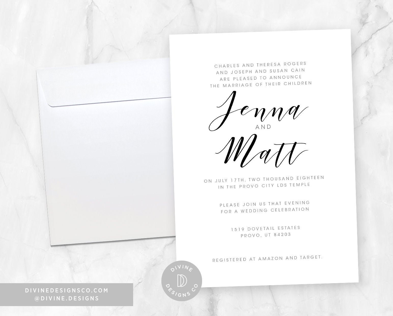 Customizable Elegant Simple Calligraphy Wedding Announcements