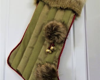 Faux Fur & Green Striped Matte and Brushed Satin Christmas Stocking PoM-PoMs !!