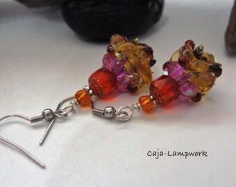 Topaz-Bronze earrings with pink propeller bead