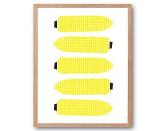 Corn Art print, Vegetable Print, Fruit Art print, Kitchen Art, Botanical Art, Wall decor