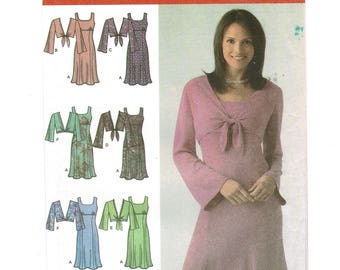 Simplicity 4483 Womens Dress Sewing Pattern, Empire waist Dress & Jacket Pattern, Misses Petites Ladies Size 8 ~ 16 Bust 31 ~ 38 UNCUT