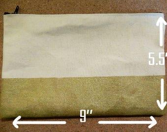 Colour-Block Screenprinted Canvas Pouch