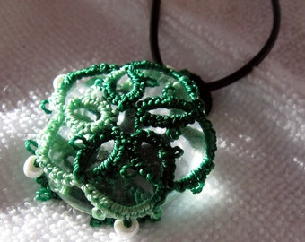 Floral Green Tatting Over Glass Medallion