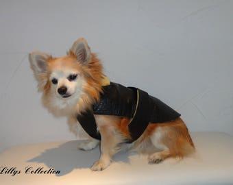 Coat black faux leather (fleece lined)