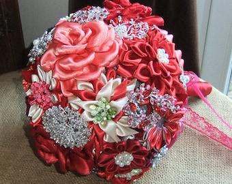 Red Kanzashi Flower and Brooch Bridal Wedding Bouquet