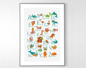 AFRIKAANS Alphabet Poster with animals from A to Z, BIG POSTER 13x19 inches