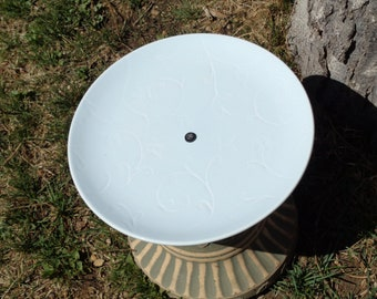 Light Blue Plate with Incised Vines Detail Bird, Squirrel or Fairy Feeder