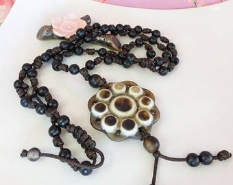 Black onyx mala bead rosary string knotted necklace, Buddhist prayer bead rosary flower mens necklace