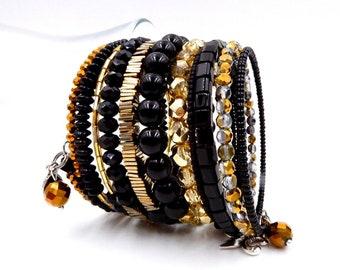 Black and gold bracelet, memory wire bracelet, beaded bracelet, black wrap bracelet, saints bracelet, saints jewelry, new orleans saints