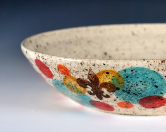 Wheel Thrown Pottery Serving Bowl, Handmade Salad Bowl, Vegetable Bowl, Chip Bowl, Fruit bowl