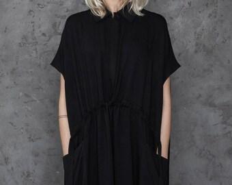 Shirt dress / Black shirt dress / Asymmetrical dress / Evening dress women / High collar women dress / Woolen dress / Sustainable