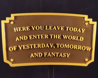Main Street Entranceway Welcome Plaque DL Inspired Sign - Dual Brown / Gold Color ( Disney Home Decor )