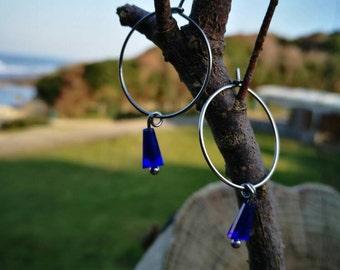 titanebasque pure titanium steel with Crystal shaped tassel hypoallergenic & waterproof hoop earrings