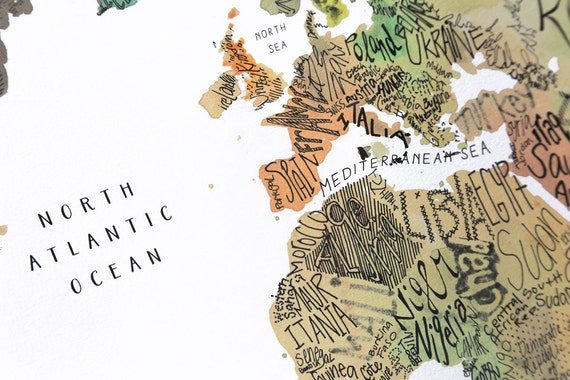 Watercolor World Map Hand Lettered Map Fineart Map Large - 24x36 world map
