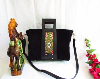 Black leather tote,  women leather tote, black suede tote, women leather tote, women shoulder bag, colorful women tote, large leather tote