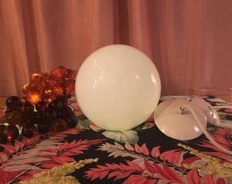 Vintage white round glass globe, pendant light, Mid Century, 1960's, retro, mod