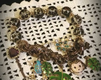 After Life Accessories Repurposed Stretch Charm Bracelet Leopard Monkey
