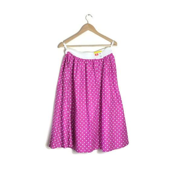 Vintage pink spotty skirt / pink polka dot circle skirt / 80s does 50s pink cotton full skirt / pink 50s style swing skirt / large