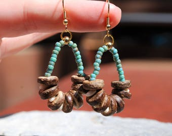 drop earrings, handmade dangle boho bohemain gold plated jewelry wood long earring Funky Bells turquoise, gypsy chandelier coconut