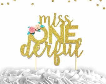 1 pc miss ONEderful onederful flowers Gold Glitter Cake Topper for first Birthday girl Baby shower cake smash party