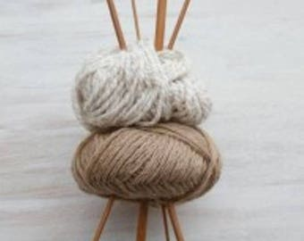 Straight needles, bamboo, 33 cm, 4mm or 3mm to choose