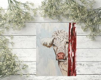 Valentine, print on art board, cow painting, cow art, cow decor, white cow art, white cow decor, farmhouse decor,