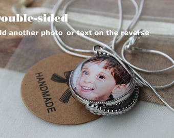 Double sided photo charm necklace/ Custom photo gift for her/ Gift for mom/ Mom photo necklace/Personalized Mother's Day gift/ Baby photo